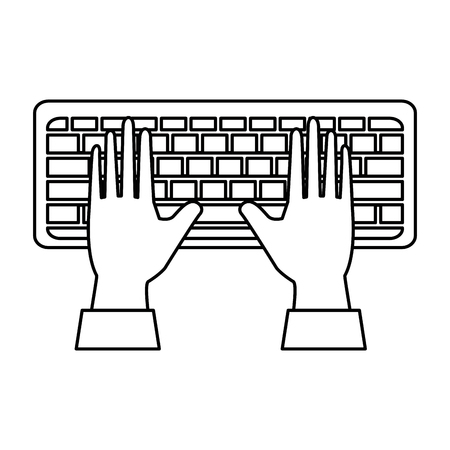 hands human with keyboard vector illustration design