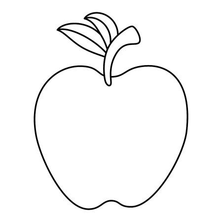 mela frutta fresca icona illustrazione vettoriale illustrazione