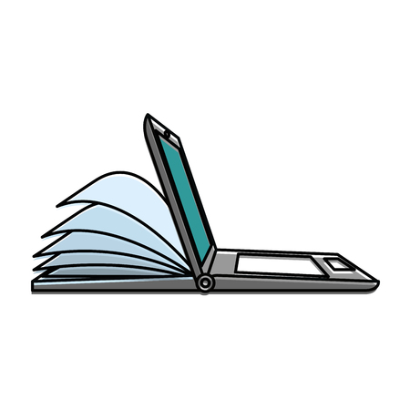 laptop computer with ebook vector illustration design