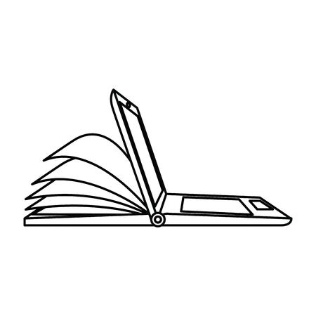 Laptop computer met ontwerp van de ebook het vectorillustratie Stockfoto - 89251511