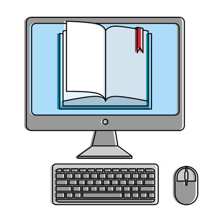 desktop computer met ebook vector illustratie ontwerp