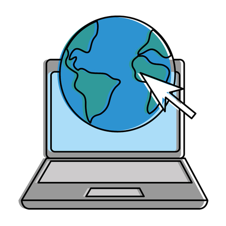laptop computer with planet vector illustration design