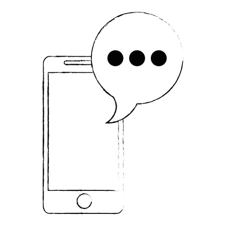 smartphone device with speech bubble vector illustration design Illustration