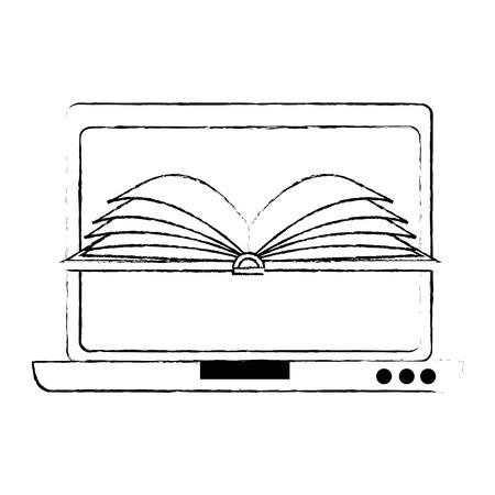 laptop computer met ontwerp van de ebook het vectorillustratie Stock Illustratie
