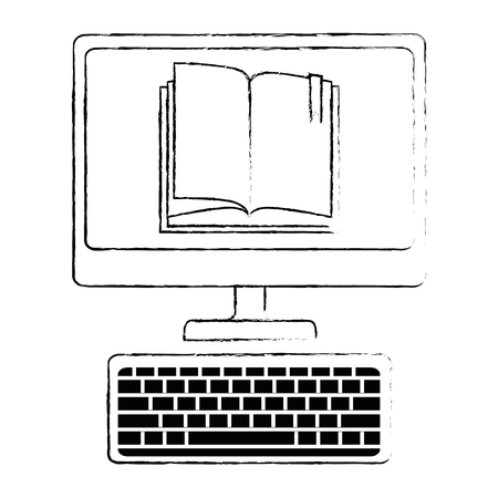 desktop computer with ebook vector illustration design 向量圖像