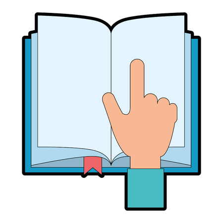 hand reader with text book isolated icon vector illustration design