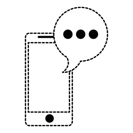 smartphone device with speech bubble vector illustration design Illustration