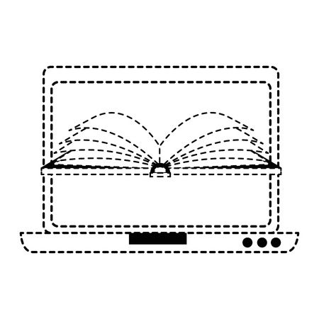 Laptop computer met ontwerp van de ebook het vectorillustratie Stockfoto - 89278488