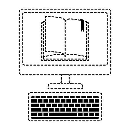 Desktop computer met ebook vector illustratie ontwerp Stockfoto - 89281373