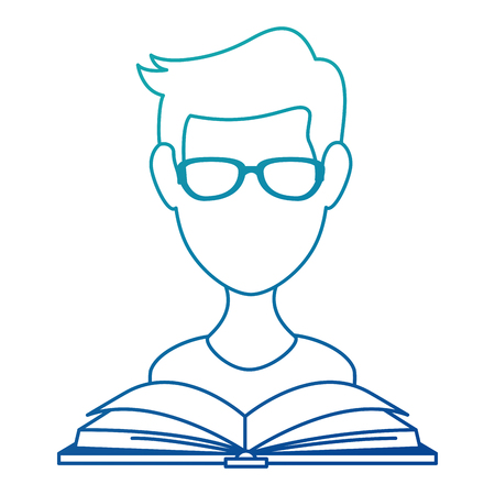 young man with book reading vector illustration design