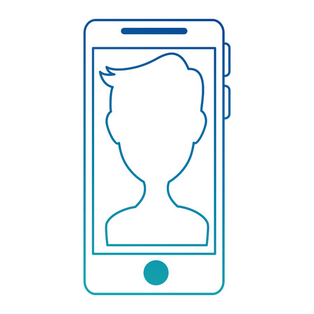 smartphone device with user vector illustration design Illustration