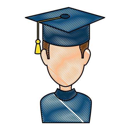 卒業したアバターキャラクターアイコンベクトルイラストデザイン  イラスト・ベクター素材
