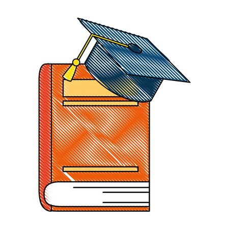 text book with hat graduation vector illustration design