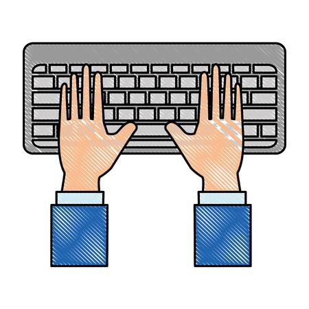 hands human with keyboard vector illustration design