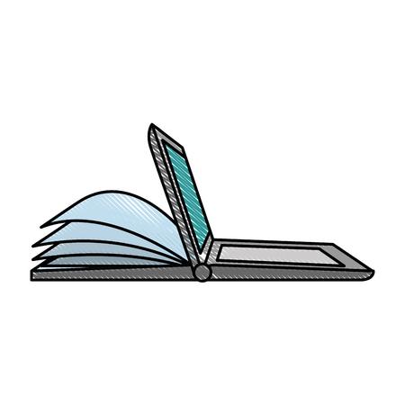 Laptop computer met ontwerp van de ebook het vectorillustratie Stockfoto - 89285536