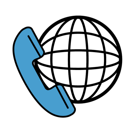 world receiver: phone service with planet vector illustration design