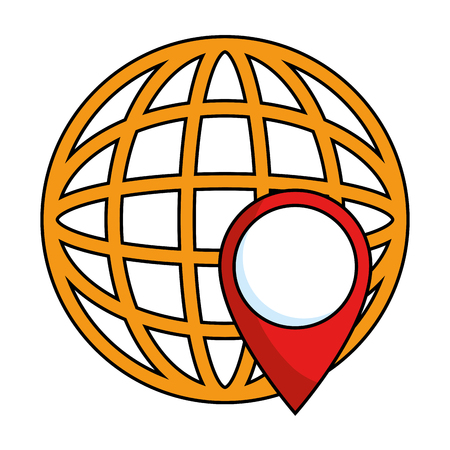 flat earth: world planet earth with pin pointer vector illustration design