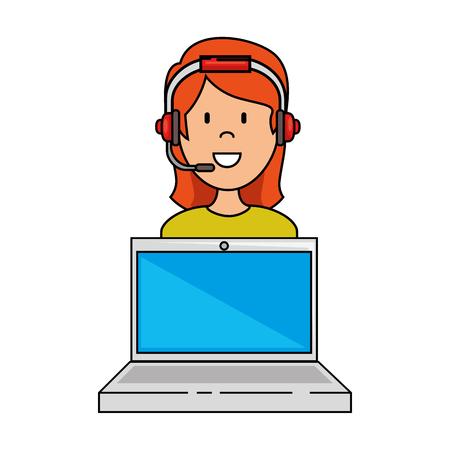Ordenador portátil con call center mujer agente vector ilustración diseño