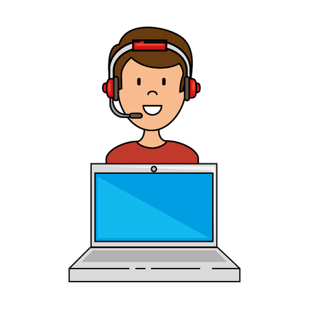 laptop with call center man agent vector illustration design