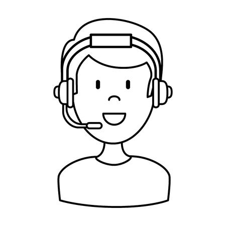 male call center agent vector illustration design