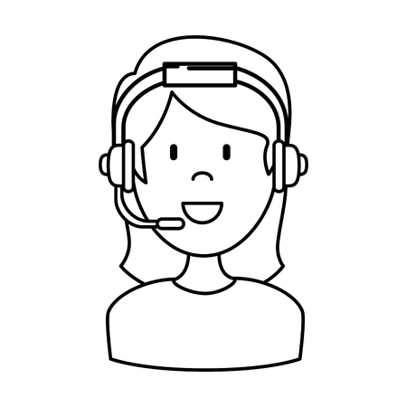 female call center agent vector illustration design Ilustração