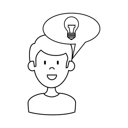 man with speech bubble and bulb vector illustration design Stock Vector - 89286122