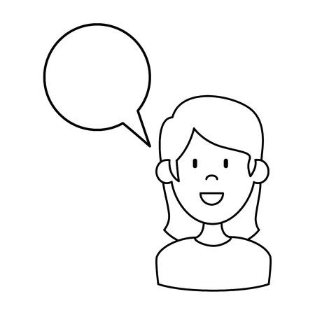 woman with speech bubble vector illustration design