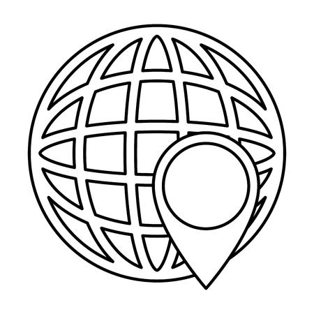 Wereld planeet aarde met pin aanwijzer vector illustratie ontwerp Stockfoto - 89286241