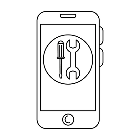 smartphone device with tools vector illustration design