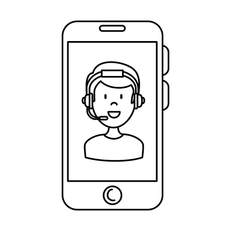 smartphone device with call center agent vector illustration design Illustration
