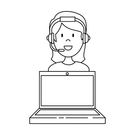 laptop with call center woman agent vector illustration design