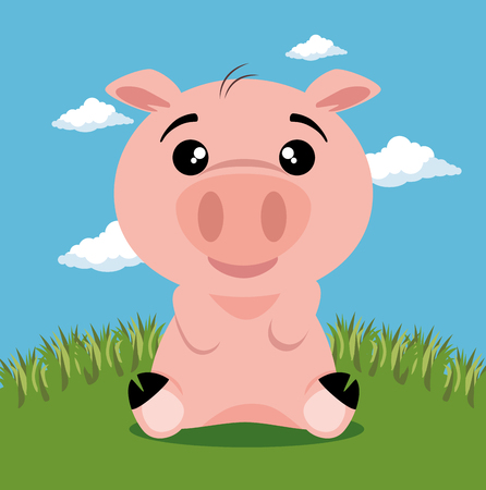 cute pig animal cartoon vector illustration graphic design