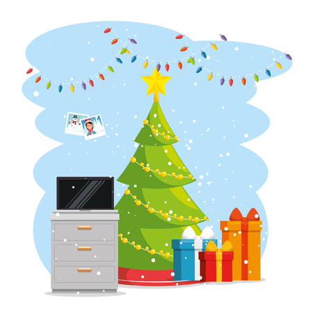 merry christmas decorated workplace office vector illustration graphic design