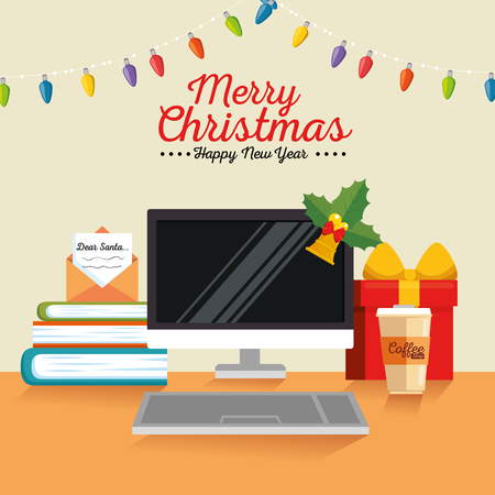 merry christmas decorated workplace office vector illustration graphic design Stock Vector - 89288802