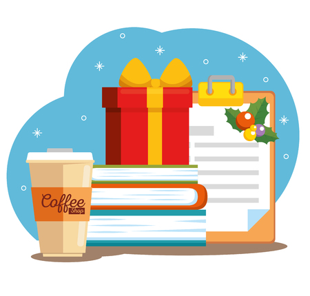 merry christmas decorated workplace office vector illustration graphic design Stock Vector - 89288804