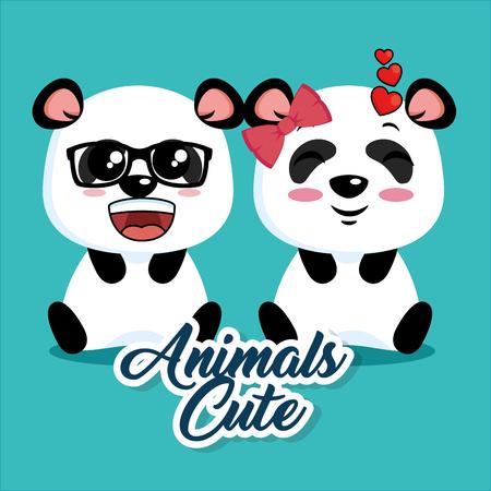 cute panda animal cartoon vector illustration graphic design
