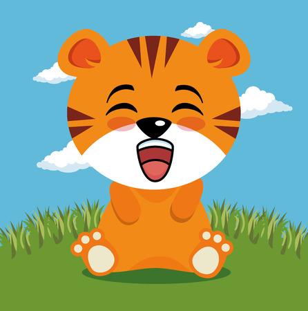 cute tiger animal cartoon vector illustration graphic design 向量圖像