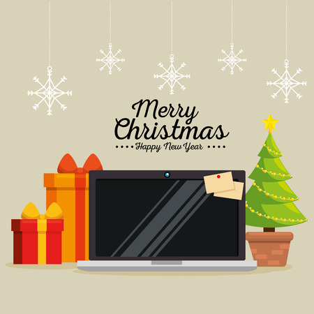 merry christmas decorated workplace office vector illustration graphic design Stock Vector - 89288975