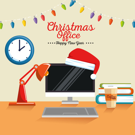 merry christmas decorated workplace office vector illustration graphic design Stock Vector - 89289405