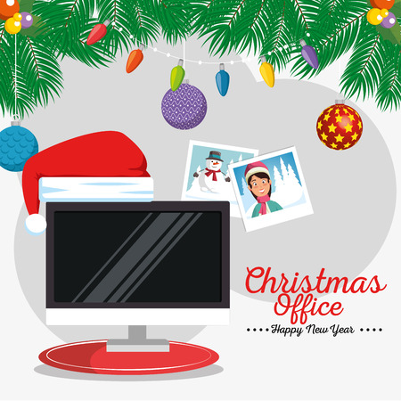 merry christmas decorated workplace office vector illustration graphic design Stock Vector - 89289407