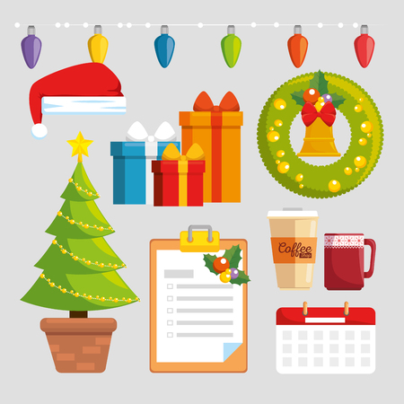 merry christmas decorated workplace office vector illustration graphic design Stock Vector - 89289408