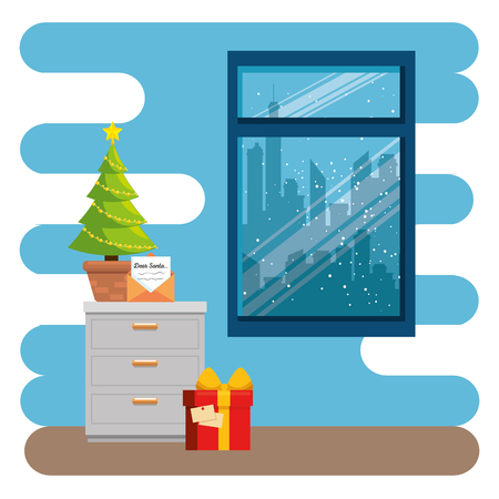merry christmas decorated workplace office vector illustration graphic design Stock Vector - 89289414