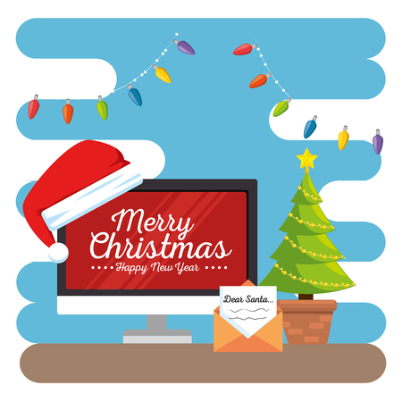 merry christmas decorated workplace office vector illustration graphic design Stock Vector - 89289778