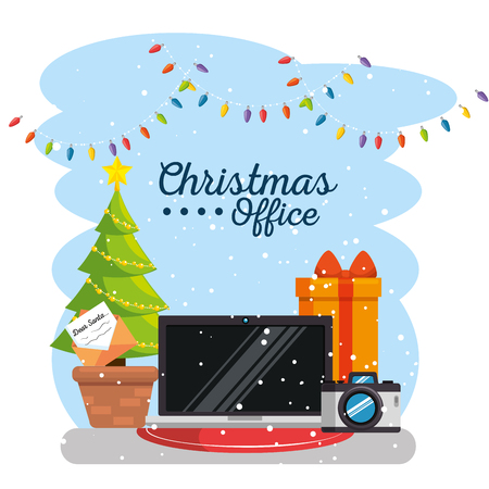 merry christmas decorated workplace office vector illustration graphic design Stock Vector - 89289779