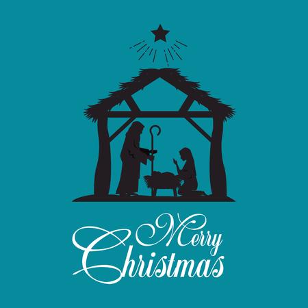 神聖な家族のベクトル イラスト グラフィック デザインとメリー クリスマス キリスト降誕のシーン  イラスト・ベクター素材