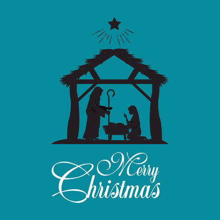 merry christmas nativity scene with holy family vector illustration graphic design Zdjęcie Seryjne - 89289424