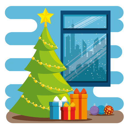 merry christmas decorated workplace office vector illustration graphic design Stock Vector - 89289783