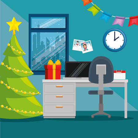 merry christmas decorated workplace office vector illustration graphic design Stock Vector - 89289788