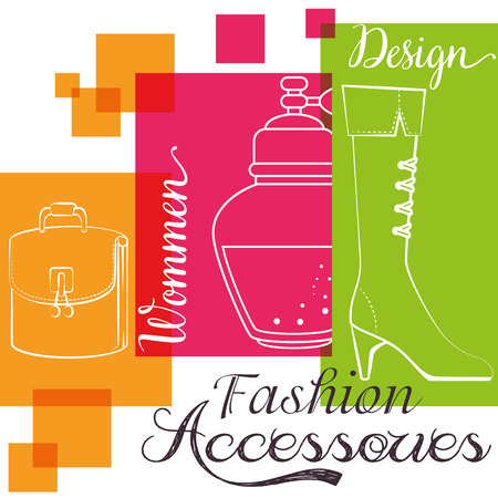 stylish woman fashion accesories vector illustration graphic design