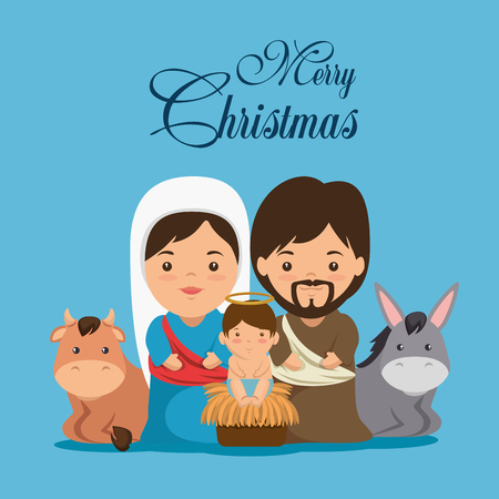 거룩한 가족 벡터 일러스트 그래픽 디자인으로 메리 크리스마스 출생 장면 일러스트